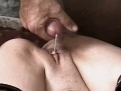 Lewd mature gets creampie after sex