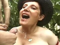 Chesty grandma gets cumload by guys