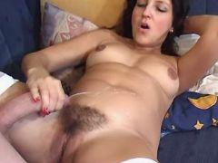 Pregnant girl assfucks and gets cum