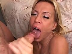 Milf tastes sperm after riding big cock