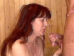 Old radhead whore gets hot facia
