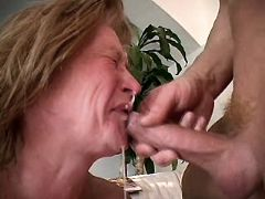 Hot granny gets facial after fuck