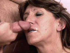 Elder mature tastes cum after fuck