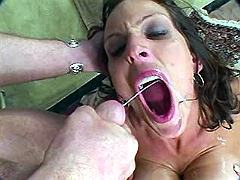 Mom jizzed by two dicks