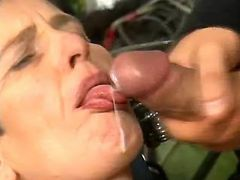 Granny fucks and gets cum on lips