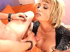 Blonde cute milf gets cumshot on titties