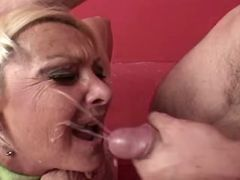 Granny gets lavish cumload on face