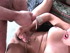 Tgirl and guy fuck n jizz together
