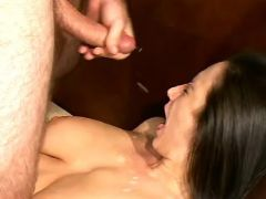 Busty mature gets cumload on face