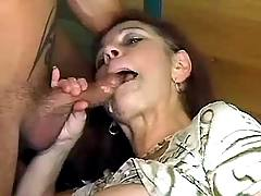 Mom gets cum jet on face