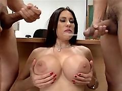 Cute brunette milf gets cum on awesome tits