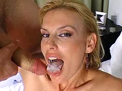 Pretty blond milf getting mouthful after assfuck