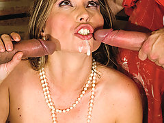 Horny milf housewife fucking two big dicks