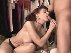 Redhead milf gets big cock in mouth