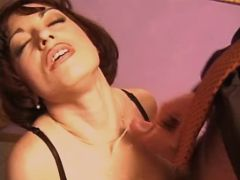 Milf sucks three cocks and gets cum