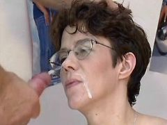 Pregnant milf gets cumload on face