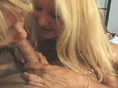 Granny and mature share strong cock