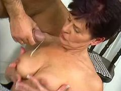 Granny rides cock and gets cumload
