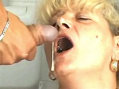 Blonde mature gets facial