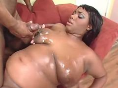 Chubby ebony milf gets cum on boobs