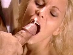 Sexy blonde catching cum