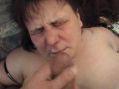 Old fatty sucks cock and gets cum