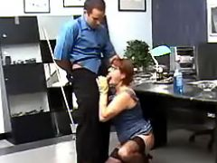 Old secretary throats cock of boss