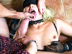 Two sexy blondes in stockings give blowjob