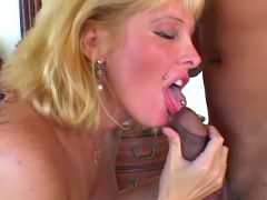 Blonde milf sucking cock